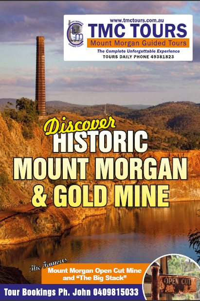 Historic Gold<br /> Here is out new promo piece for TMC Tours.</p> <p>Come aboard and venture the historic township and heritage listed gold mine - featuring the Open Cut Pir, Big Stack, General Office of Mt Morgan Limited, Dinosaur fossil displays and much more.</p>   </div>    <div class=